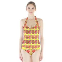 Funny Faces Halter Swimsuit by Amaryn4rt