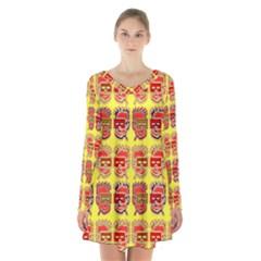 Funny Faces Long Sleeve Velvet V Neck Dress by Amaryn4rt