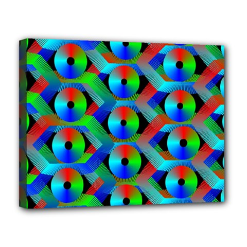 Bee Hive Color Disks Canvas 14  X 11  by Amaryn4rt