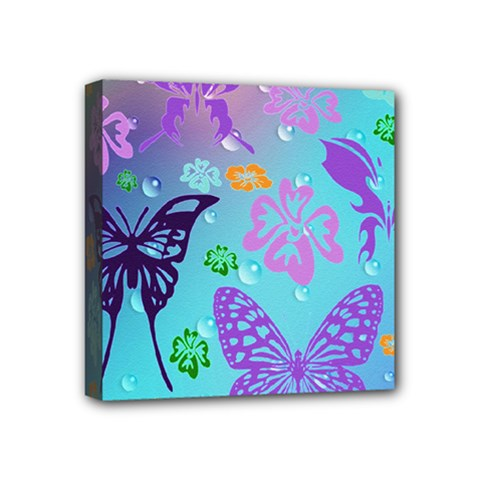 Butterfly Vector Background Mini Canvas 4  X 4