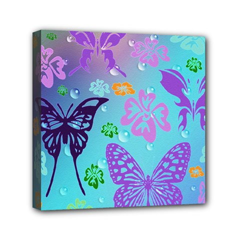 Butterfly Vector Background Mini Canvas 6  X 6  by Amaryn4rt