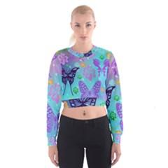 Butterfly Vector Background Women s Cropped Sweatshirt by Amaryn4rt