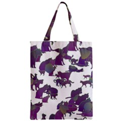Many Cats Silhouettes Texture Zipper Classic Tote Bag by Amaryn4rt