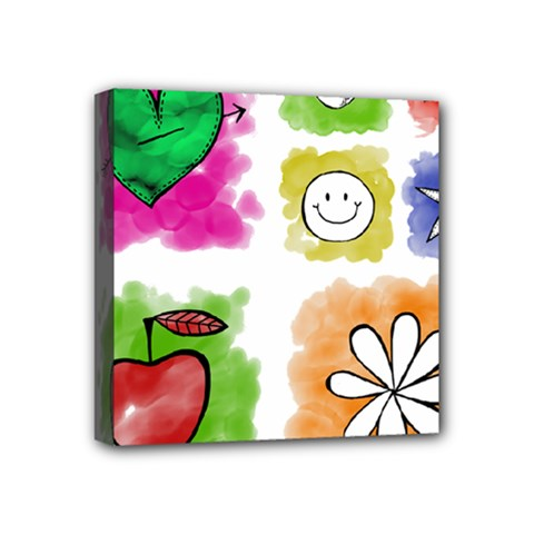 A Set Of Watercolour Icons Mini Canvas 4  X 4  by Amaryn4rt