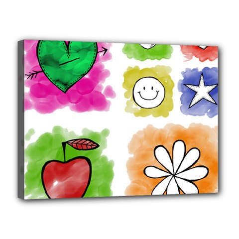 A Set Of Watercolour Icons Canvas 16  X 12  by Amaryn4rt