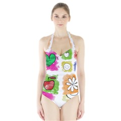 A Set Of Watercolour Icons Halter Swimsuit