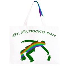 St  Patricks Zipper Large Tote Bag by Valentinaart
