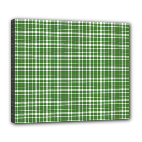 St  Patricks Day Plaid Pattern Deluxe Canvas 24  X 20   by Valentinaart