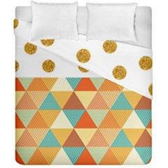 Golden Dots And Triangles Patern Duvet Cover Double Side (california King Size) by TastefulDesigns