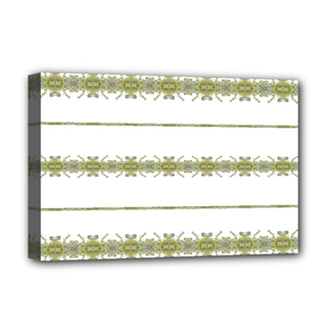 Ethnic Floral Stripes Deluxe Canvas 18  X 12   by dflcprints