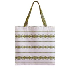 Ethnic Floral Stripes Grocery Tote Bag by dflcprints