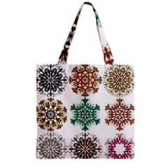 A Set Of 9 Nine Snowflakes On White Grocery Tote Bag by Amaryn4rt