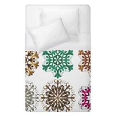 A Set Of 9 Nine Snowflakes On White Duvet Cover (single Size) by Amaryn4rt