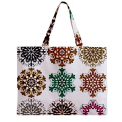 A Set Of 9 Nine Snowflakes On White Medium Zipper Tote Bag by Amaryn4rt