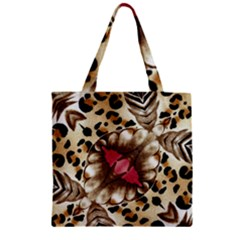 Animal Tissue And Flowers Zipper Grocery Tote Bag by Amaryn4rt