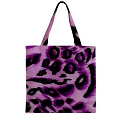 Background Fabric Animal Motifs Lilac Zipper Grocery Tote Bag by Amaryn4rt
