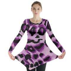 Background Fabric Animal Motifs Lilac Long Sleeve Tunic
