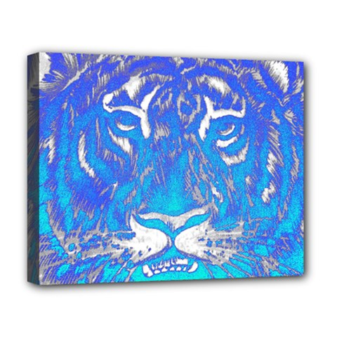 Background Fabric With Tiger Head Pattern Deluxe Canvas 20  X 16   by Amaryn4rt