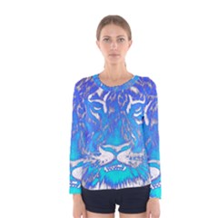 Background Fabric With Tiger Head Pattern Women s Long Sleeve Tee by Amaryn4rt