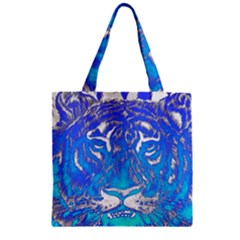 Background Fabric With Tiger Head Pattern Zipper Grocery Tote Bag by Amaryn4rt