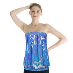 Background Fabric With Tiger Head Pattern Strapless Top by Amaryn4rt
