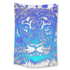 Background Fabric With Tiger Head Pattern Large Tapestry by Amaryn4rt