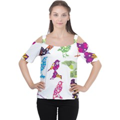 Birds Colorful Floral Funky Women s Cutout Shoulder Tee