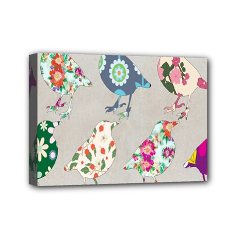 Birds Floral Pattern Wallpaper Mini Canvas 7  X 5  by Amaryn4rt