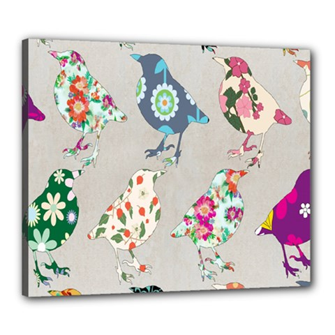 Birds Floral Pattern Wallpaper Canvas 24  X 20  by Amaryn4rt