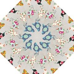 Birds Floral Pattern Wallpaper Hook Handle Umbrellas (small) by Amaryn4rt