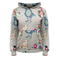 Birds Floral Pattern Wallpaper Women s Pullover Hoodie