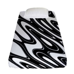 Black And White Wave Abstract Fitted Sheet (single Size) by Amaryn4rt
