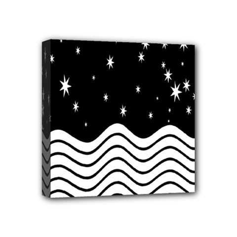 Black And White Waves And Stars Abstract Backdrop Clipart Mini Canvas 4  X 4  by Amaryn4rt
