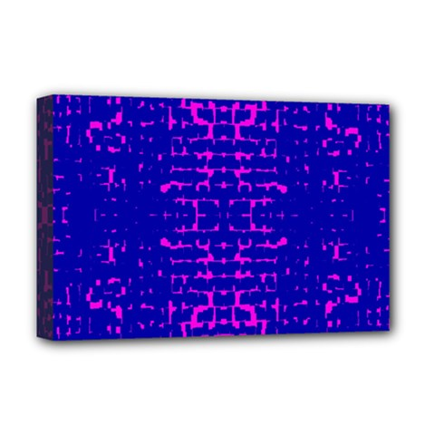 Blue And Pink Pixel Pattern Deluxe Canvas 18  X 12   by Amaryn4rt