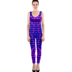 Blue And Pink Pixel Pattern Onepiece Catsuit by Amaryn4rt