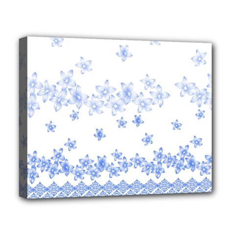 Blue And White Floral Background Deluxe Canvas 20  X 16   by Amaryn4rt