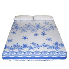 Blue And White Floral Background Fitted Sheet (queen Size)