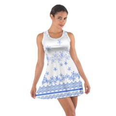 Blue And White Floral Background Cotton Racerback Dress