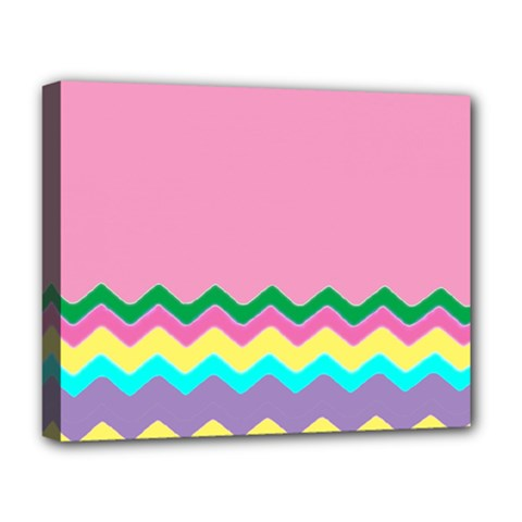 Easter Chevron Pattern Stripes Deluxe Canvas 20  X 16   by Amaryn4rt