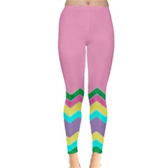Easter Chevron Pattern Stripes Leggings  by Amaryn4rt