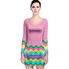 Easter Chevron Pattern Stripes Long Sleeve Bodycon Dress by Amaryn4rt