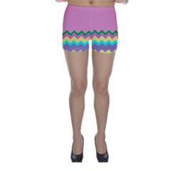 Easter Chevron Pattern Stripes Skinny Shorts by Amaryn4rt