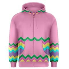Easter Chevron Pattern Stripes Men s Zipper Hoodie by Amaryn4rt