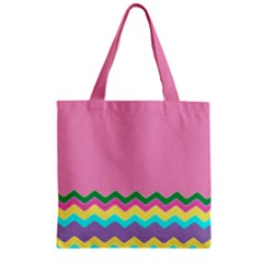 Easter Chevron Pattern Stripes Zipper Grocery Tote Bag by Amaryn4rt