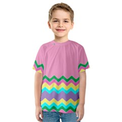Easter Chevron Pattern Stripes Kids  Sport Mesh Tee by Amaryn4rt