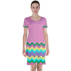 Easter Chevron Pattern Stripes Short Sleeve Nightdress by Amaryn4rt