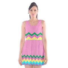Easter Chevron Pattern Stripes Scoop Neck Skater Dress by Amaryn4rt