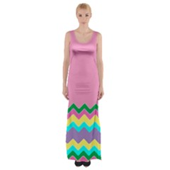Easter Chevron Pattern Stripes Maxi Thigh Split Dress by Amaryn4rt