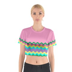 Easter Chevron Pattern Stripes Cotton Crop Top by Amaryn4rt