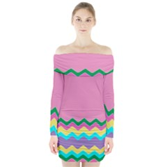 Easter Chevron Pattern Stripes Long Sleeve Off Shoulder Dress by Amaryn4rt